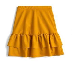 J. Crew Wool Flannel Ruffle Skirt NWT Size 8P